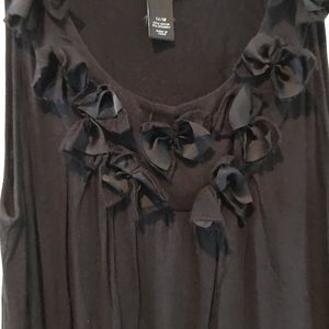 Lane Bryant Bow Ruffle Neck Tank Black 14/16 1X